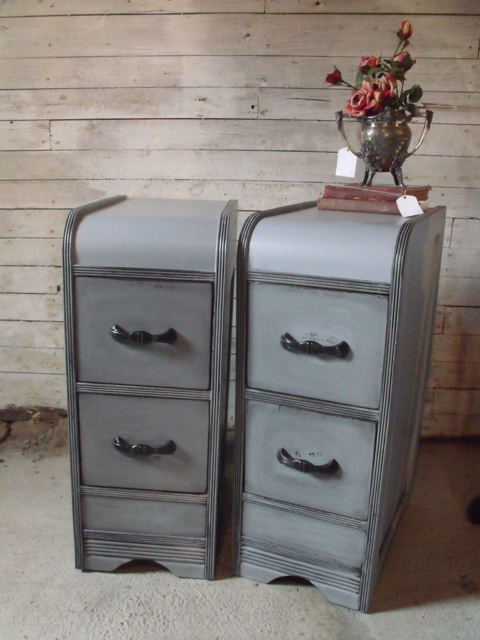 A Vintage Waterfall Vanity Turned Into Matching Night Stands Vintage Nightstand Refurbished Furniture Diy Antique Bedroom Furniture