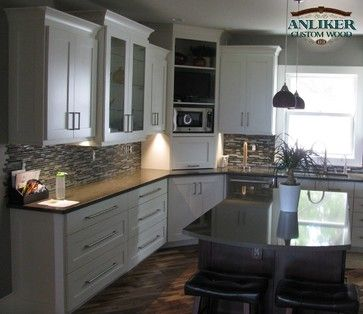 Kitchen Cabinets With Corner Appliance Garage And Microwave Shelf