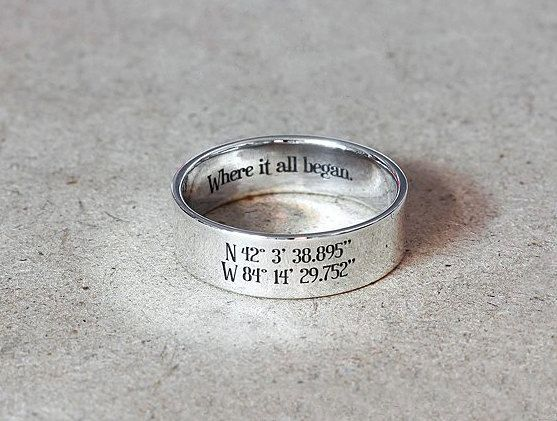 6 Mm Sterling Silver Coordinates Ring Custom Latitude Longitude