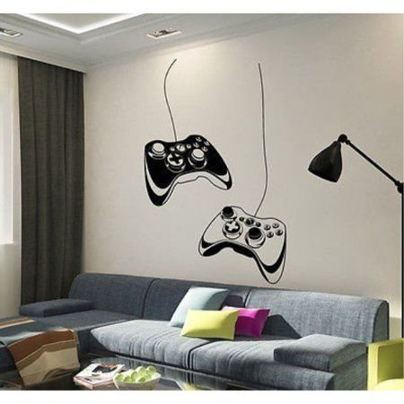 Vinyl Art Design Gamers World Wall Decor for Teen Kids Bedroom Playroom Home Decoration Wallpaper Boy Gamer Wall Stickers Murals Gamer with Controller Wall Decal
