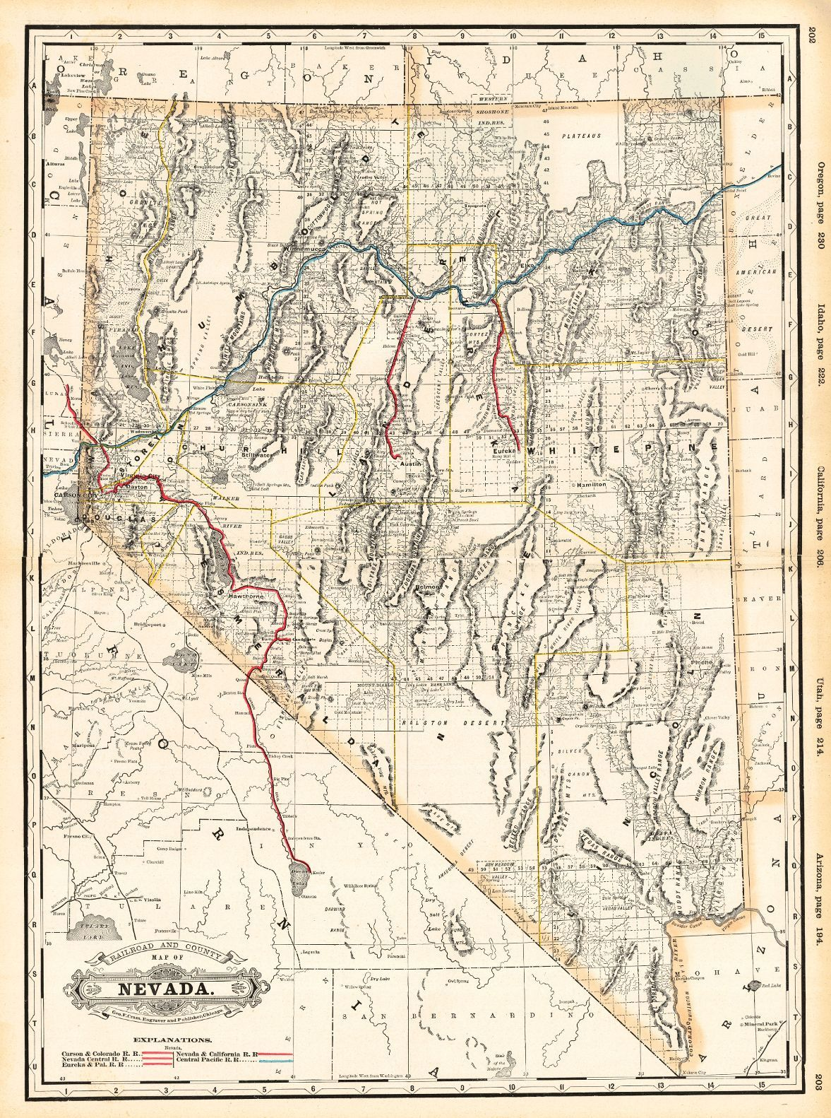 Map Antique Railroad And County Map Of Nevada George F Cram 1889