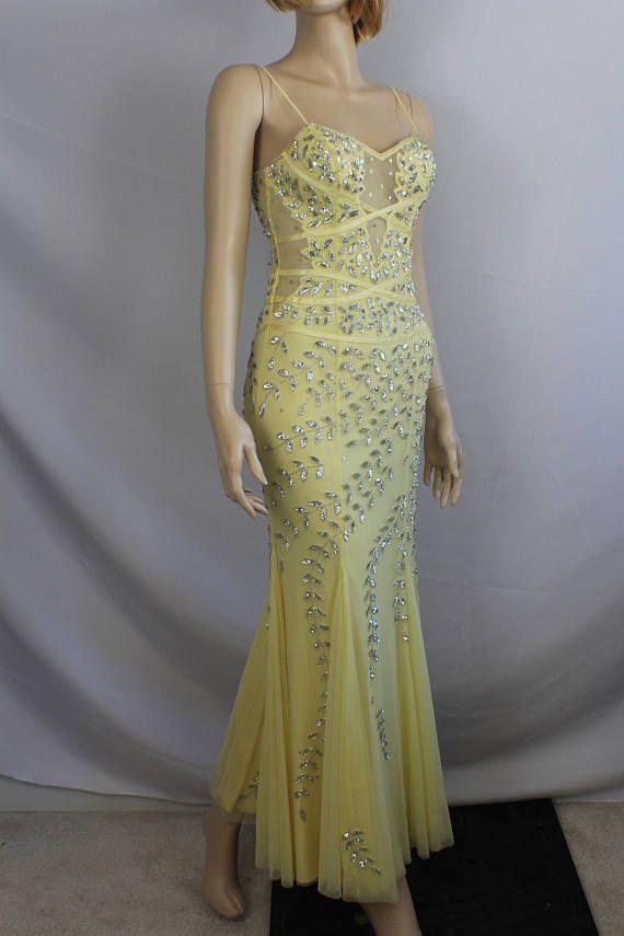 90s prom dress vintage 1990s dress beaded sequin dress ...