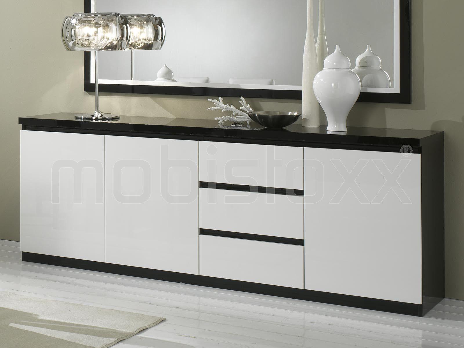 Buffet/bahut ROMEO 3 portes et 3 tiroirs noir laque/blanc laque ...