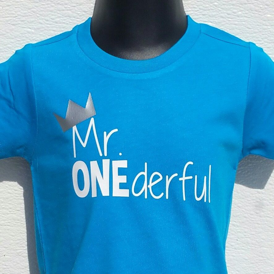 Mr ONEderful Crown 1st Birthday shirt boy Front and Back