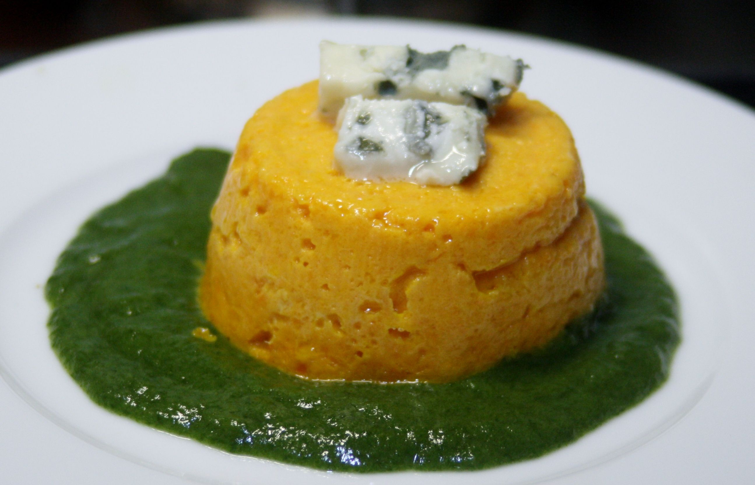 carrots flan, Roquefort cheese and spinach sauce