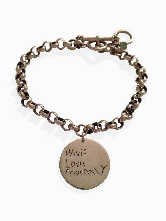 719c17806c8d7 Custom handwriting charm bracelet - actual writing on silver charm ...