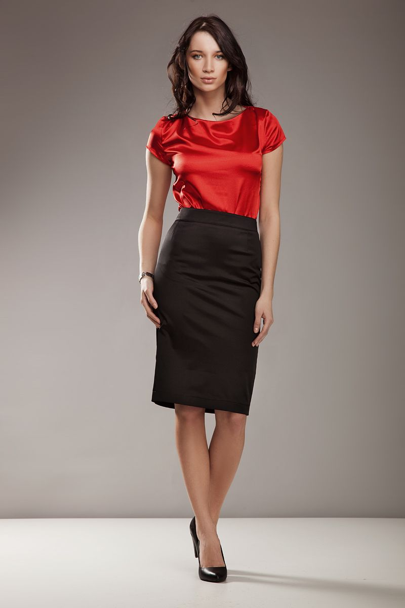 7f19cf0a5b Black Satin Pencil Skirt Red Satin Blouse Sheer Pantyhose and Black High  Heels