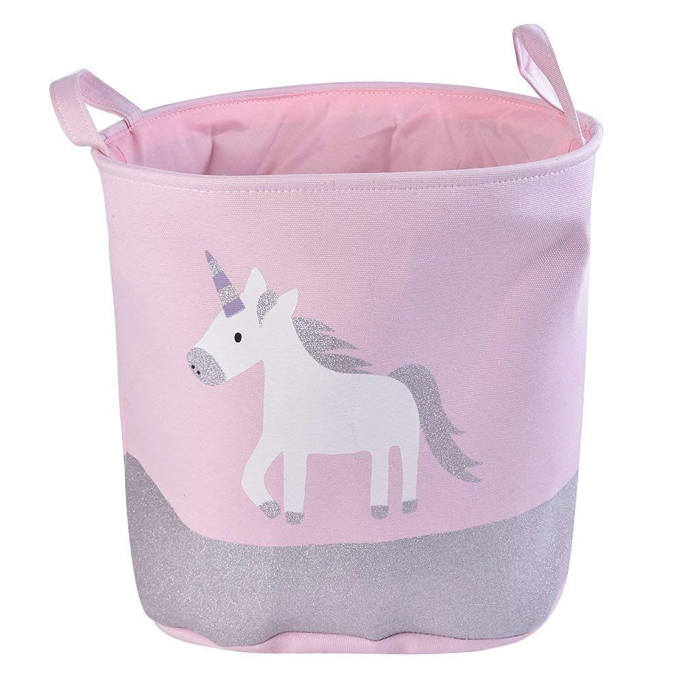 Pink Unicorn Toy Storage Basket Laundry Basket Nursery Hamper For