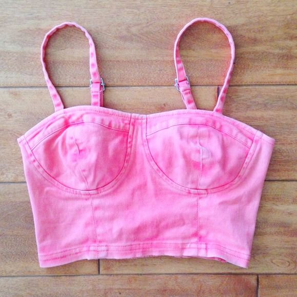 65f3eafaa76 Pink Coral Denim Bralette Corset Bustier Crop Top Coral bustier crop tank.  NOTE  Looks slightly more coral in person