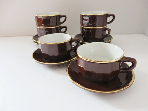 Apilco 1980 S Vintage Coffee Cup And Saucer Brown Gold