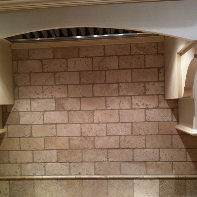 Tumbled Stone Backsplash. The Dark Grout Really Sets The Stone Off AND  Would Be Easier