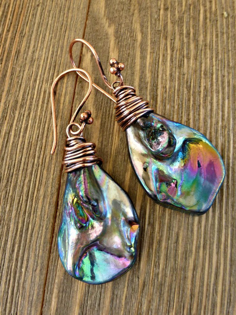 Abalone pearl drops with copper wire wrapping earrings purple blue