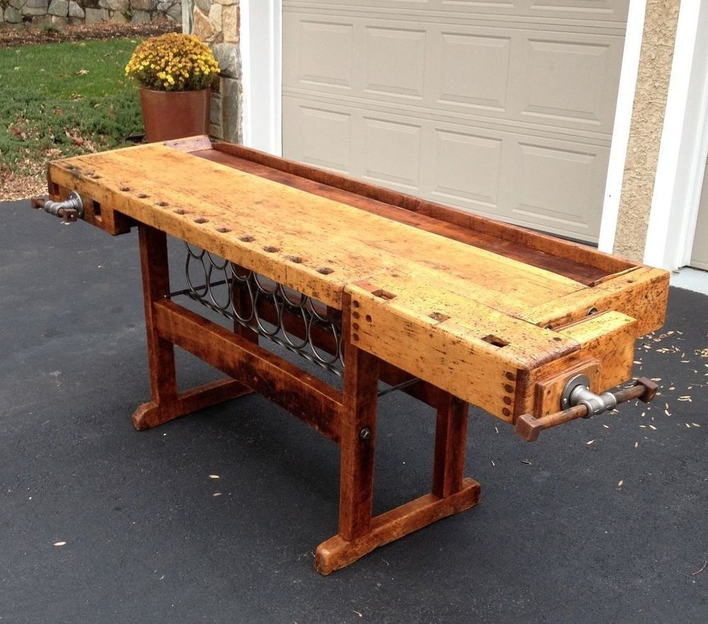 Enjoyable Antique Workbench With Vice Custom Restoration W Handmade Caraccident5 Cool Chair Designs And Ideas Caraccident5Info