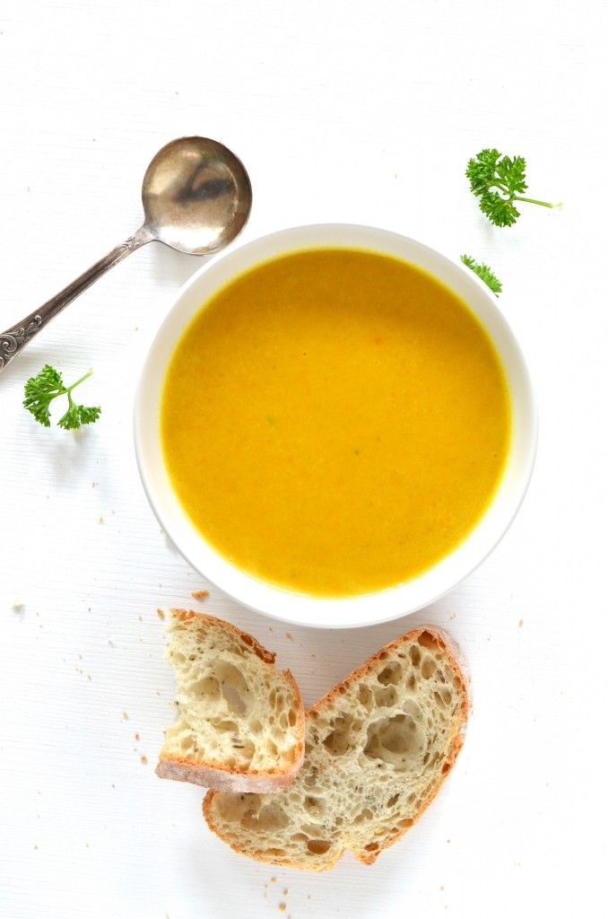 classic pumpkin soup, spiced with turmeric, coriander, cumin, cardamom & coconut milk