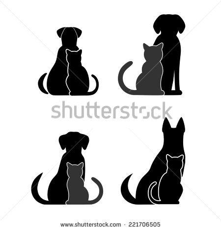 Dog Cat Silhouette Stock Vectors Vector Clip Art Dog Clip Art Cat And Dog Tattoo Small Dog Tattoos