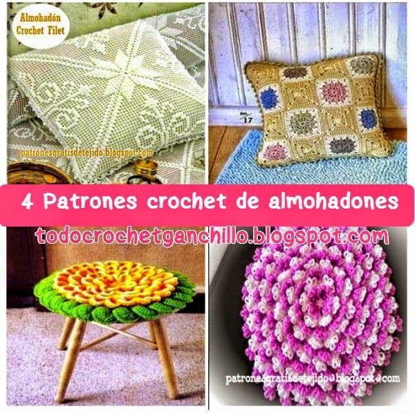 4 Patrones de Almohadones Fantásticos Tejidos al Crochet | Cojines y ...