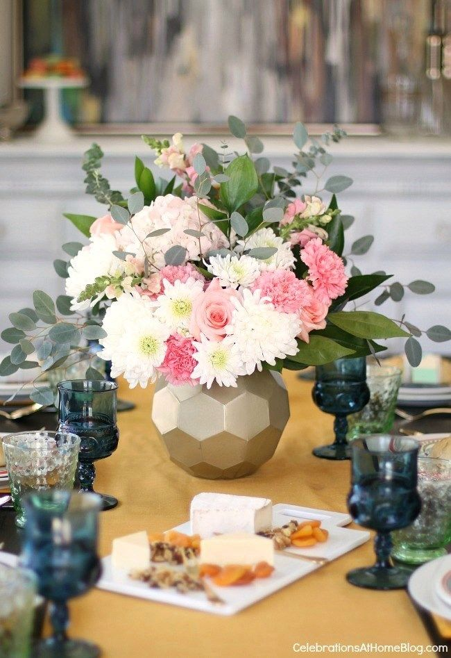 How to Add More Color to the Dining Table with 2 Different Looks - Celebrations at Home : spring table settings - Pezcame.Com