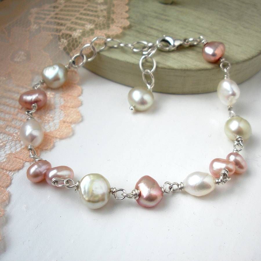 Meadow pearl bracelet by hazey designs ivory dusty pink and pale