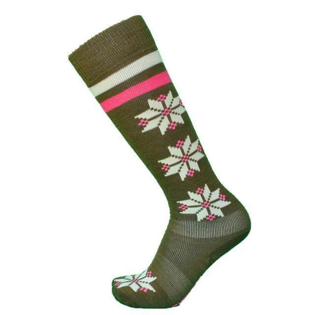 1 pair Super Thick Merino Wool Winter snowflake Women's Snowboard socks