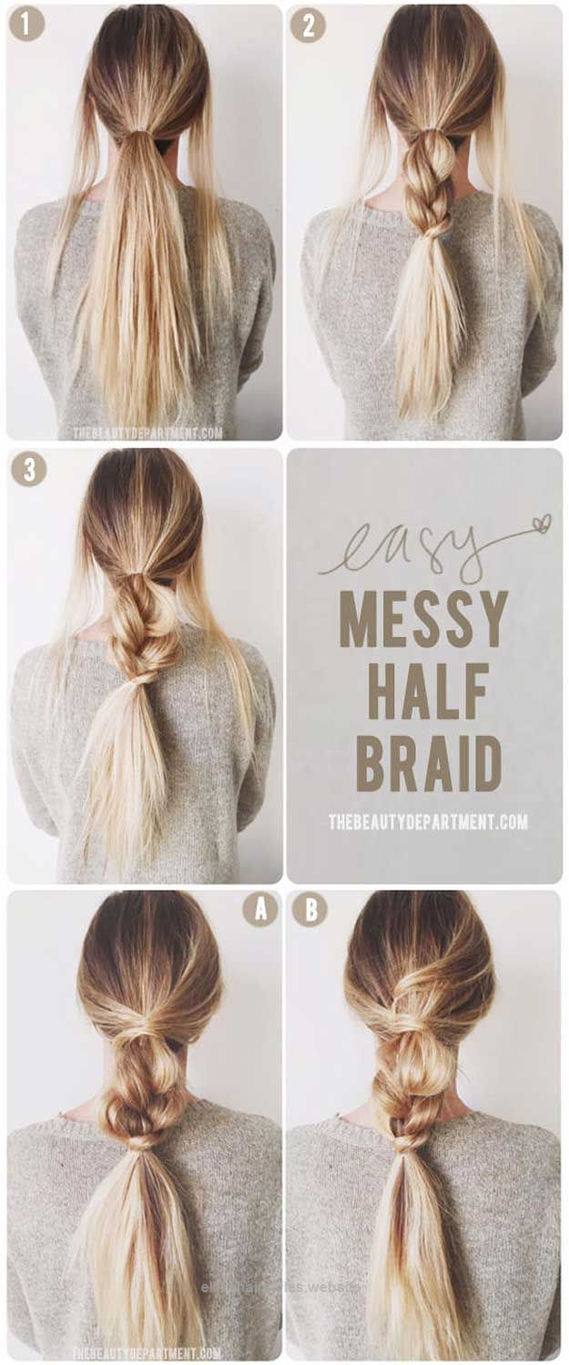 best 5 minute hairstyles - messy half braids and ponytail - quick