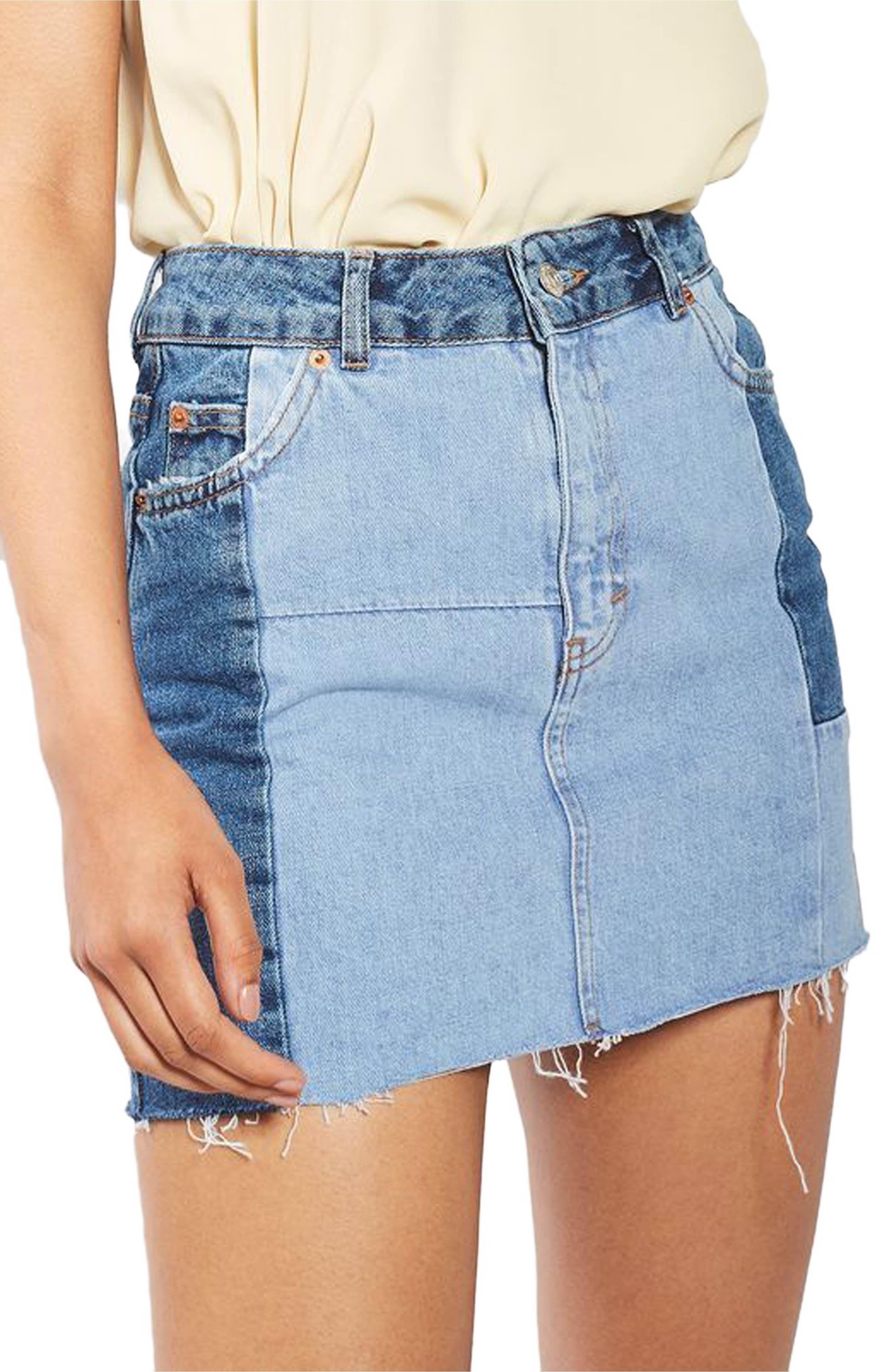 8754fe8338 Main Image - Topshop Colorblock Denim Miniskirt | clothing → in ...