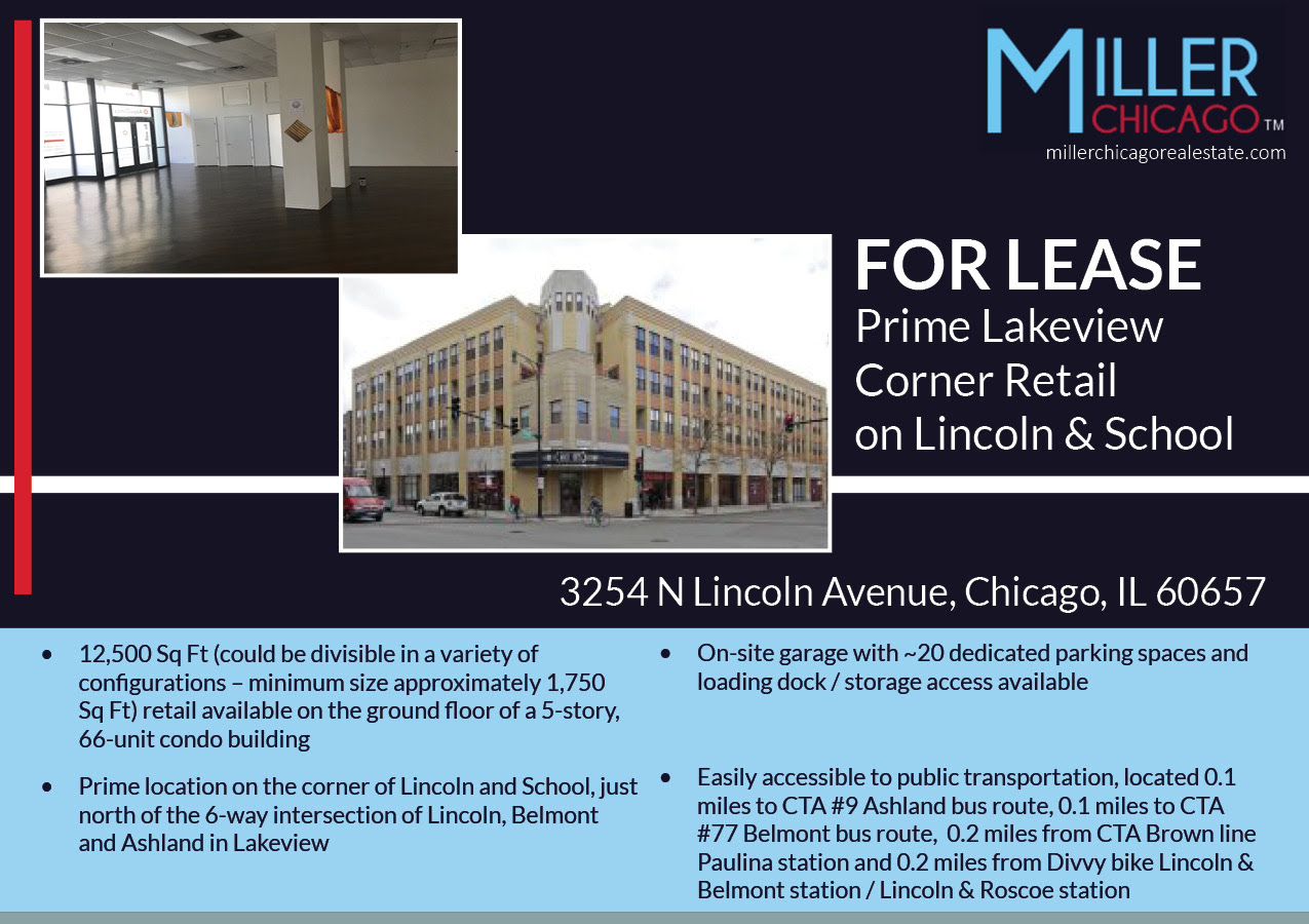 Prime Lakeview Corner Retail Lincoln Avenue School Street Space