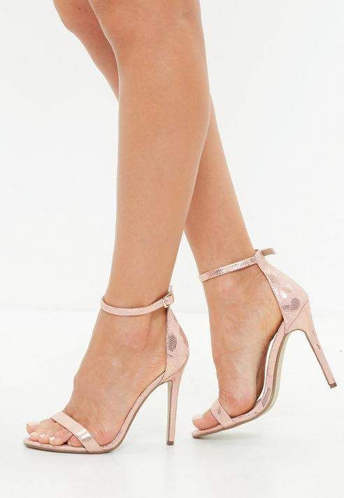 590c6f8cebfb Missguided Pink Metallic Snake Print Barely There Heeled Sandals ...