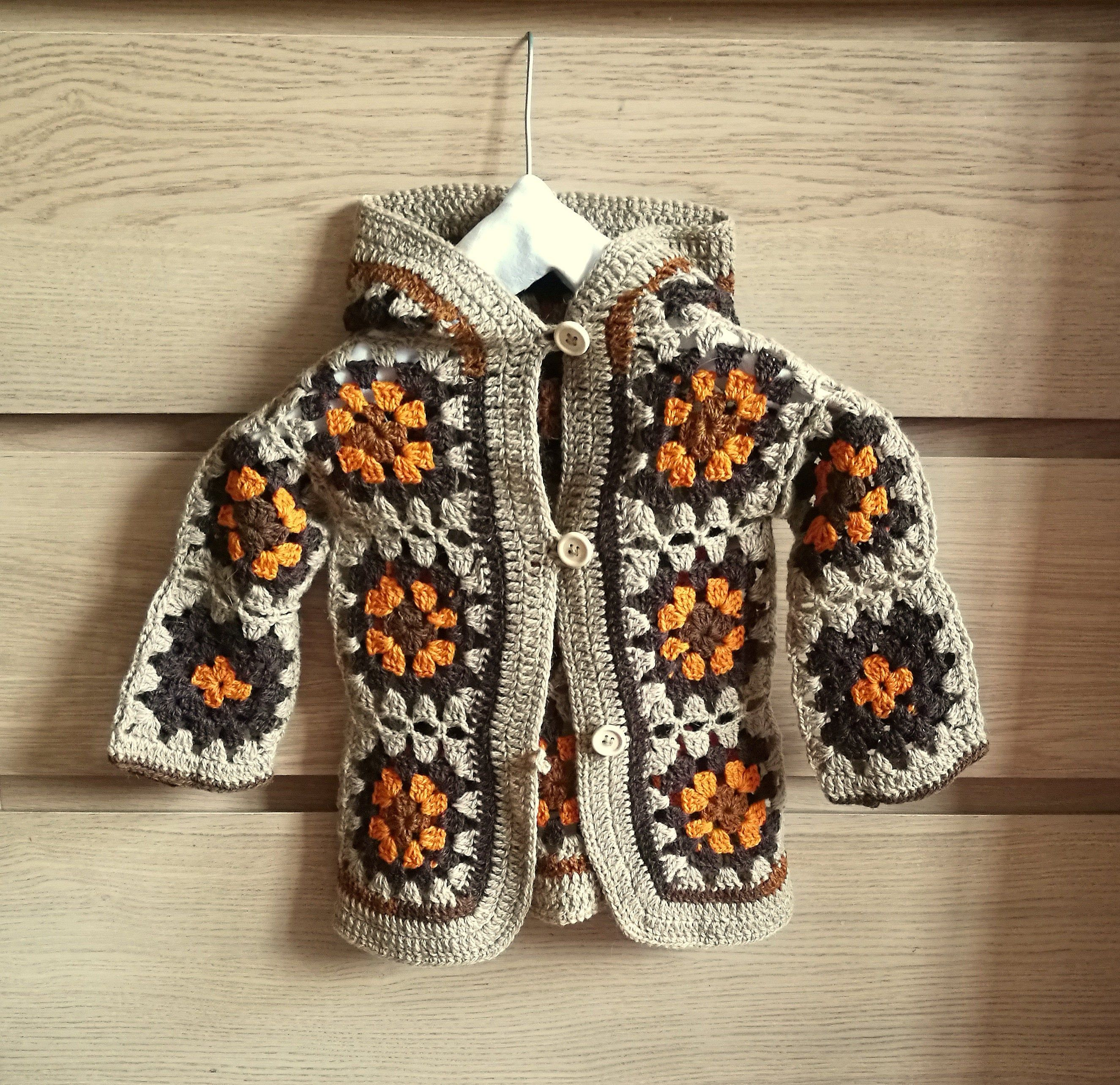 Pure wool crochet granny squares sweater Beige brown kids cardigan for spring 2-4 years knitted unisex hooded sweater