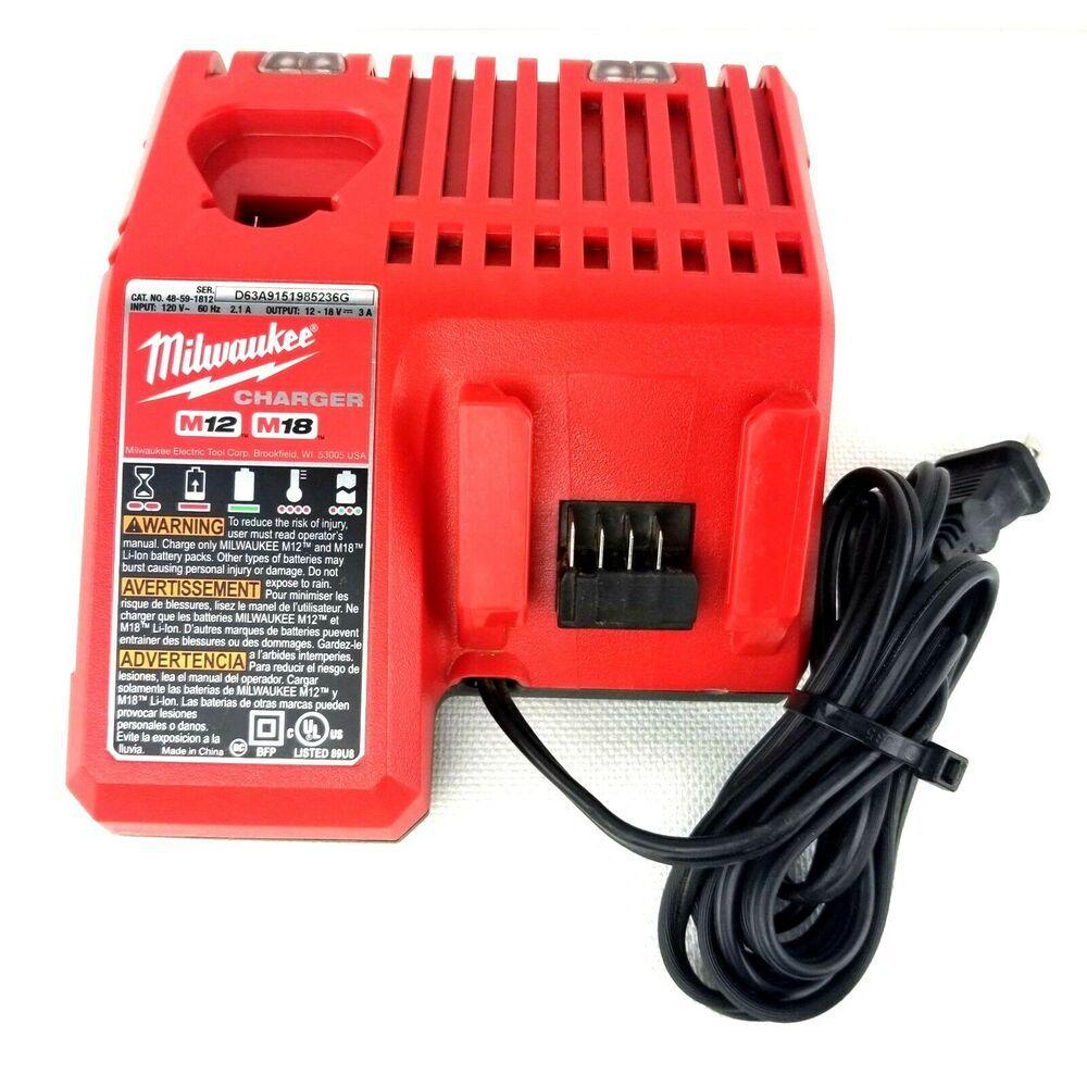 Milwaukee 48 59 1812 M18 M12 Lithium Ion Multi Voltage 18v 12v Battery Charger Milwaukee Battery Charger Lithium Ion Batteries Charger