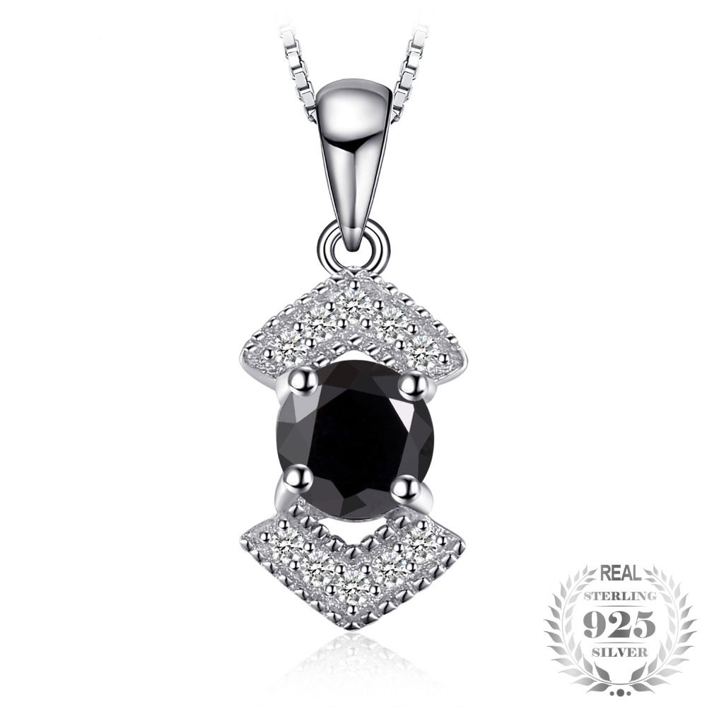 Gift For Her Natural Gemstone Necklace And Ring 925 Sterling Genuine Silver Black Spinel Jewelry Set Anniversary Gift