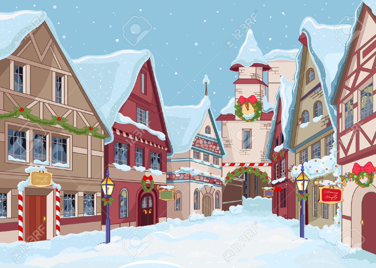 winter village with snow cartoon Google Search