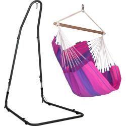 Photo of Orquídea Purple – Hängestuhl Basic mit pulverbeschichtetem Stahl-Gestell La Siesta