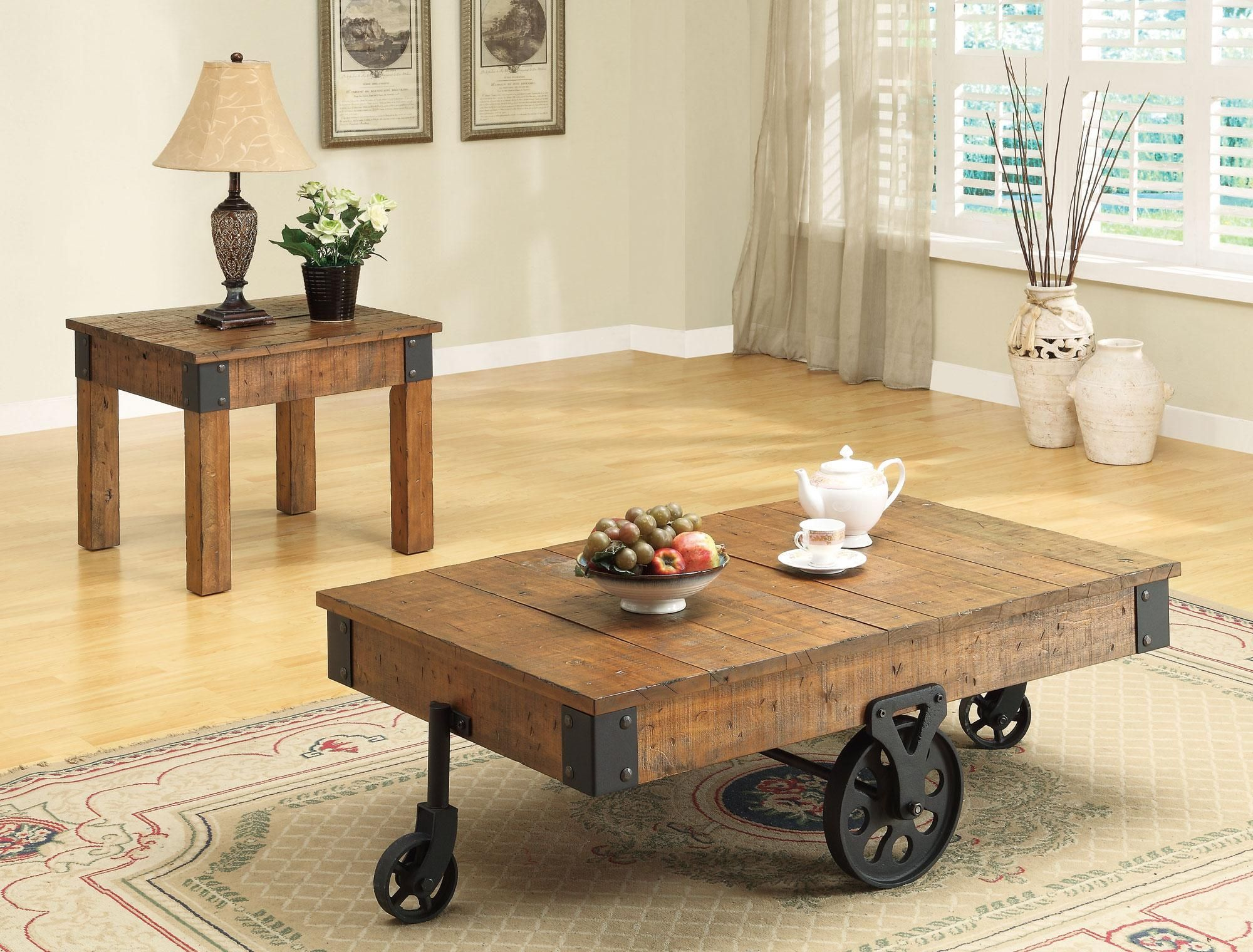 Coaster Accent Tables Distressed Country Wagon Coffee Table Coaster Fine Furniture Coffee Table Wood Rustic Coffee Tables Coffee Table With Wheels