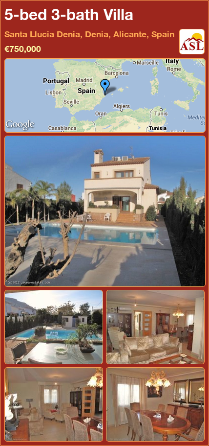 5-bed 3-bath Villa in Santa Llucia Denia, Denia, Alicante, Spain ►€750,000 #PropertyForSaleInSpain