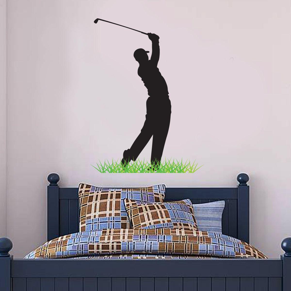Golfer silhouette wall sticker wall stickers golf wallu sports
