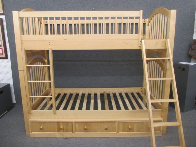havertys blonde wood twin bunk beds with drawers | bedroom