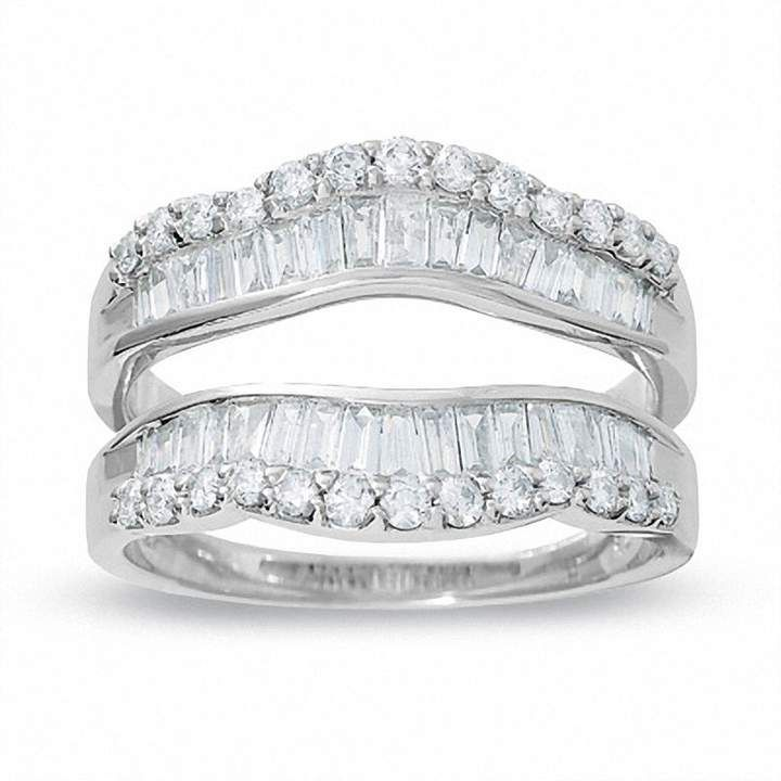 1 Ct T W Round And Baguette Diamond Wrap Solitaire