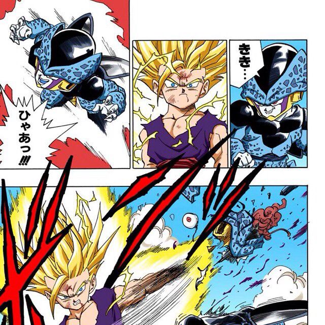 Gohan Vs Mini Cell Personajes De Dragon Ball Manga De Dbz Personajes De Goku