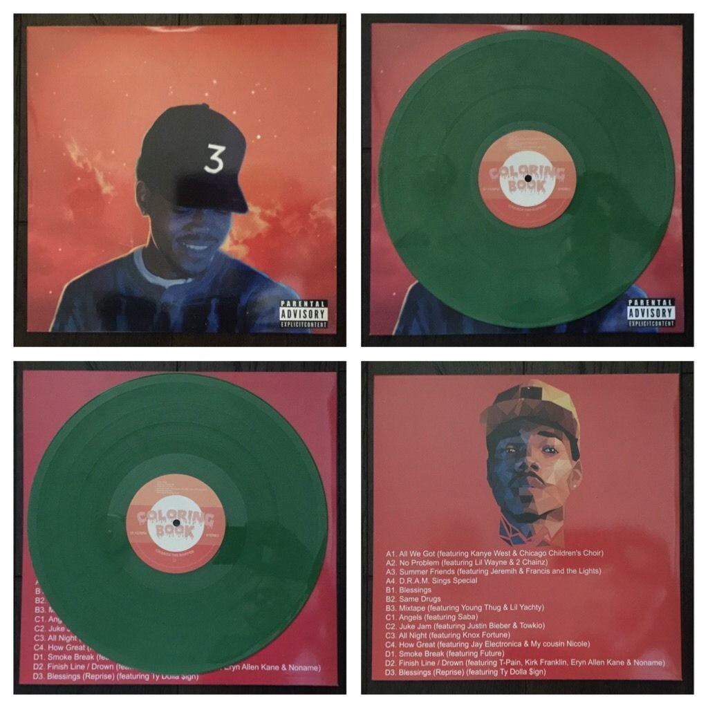 RARE CHANCE THE RAPPER COLORING BOOK GREEN KUSH COLOR VINYL 2 LP Post Acid Rap