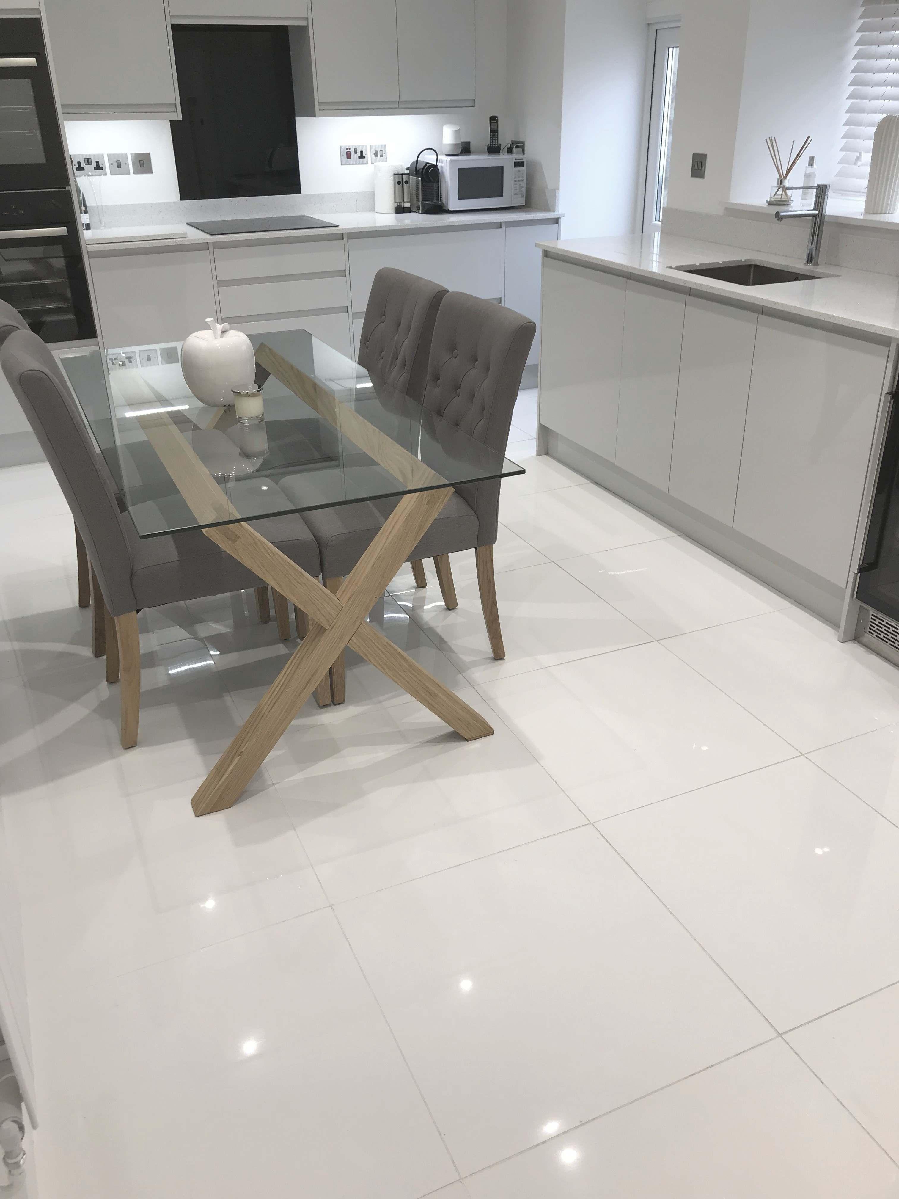 Extreme White Polished Porcelain Floor Tiles Kitchen