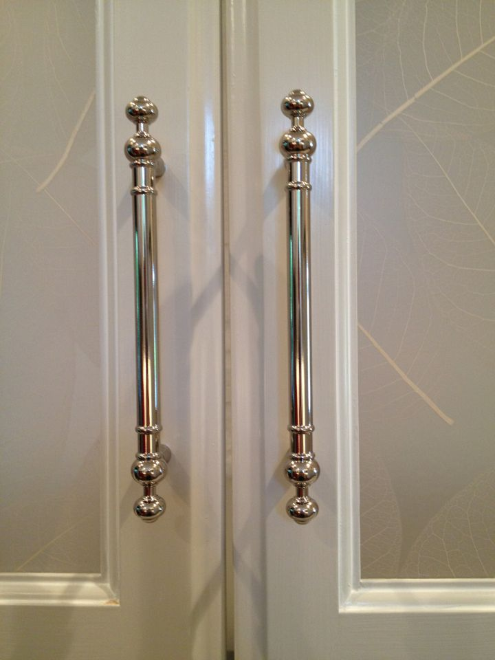 Polished Nickel Hardware, For Bifold Closet Doors Instead Of The Expected  Knobs.