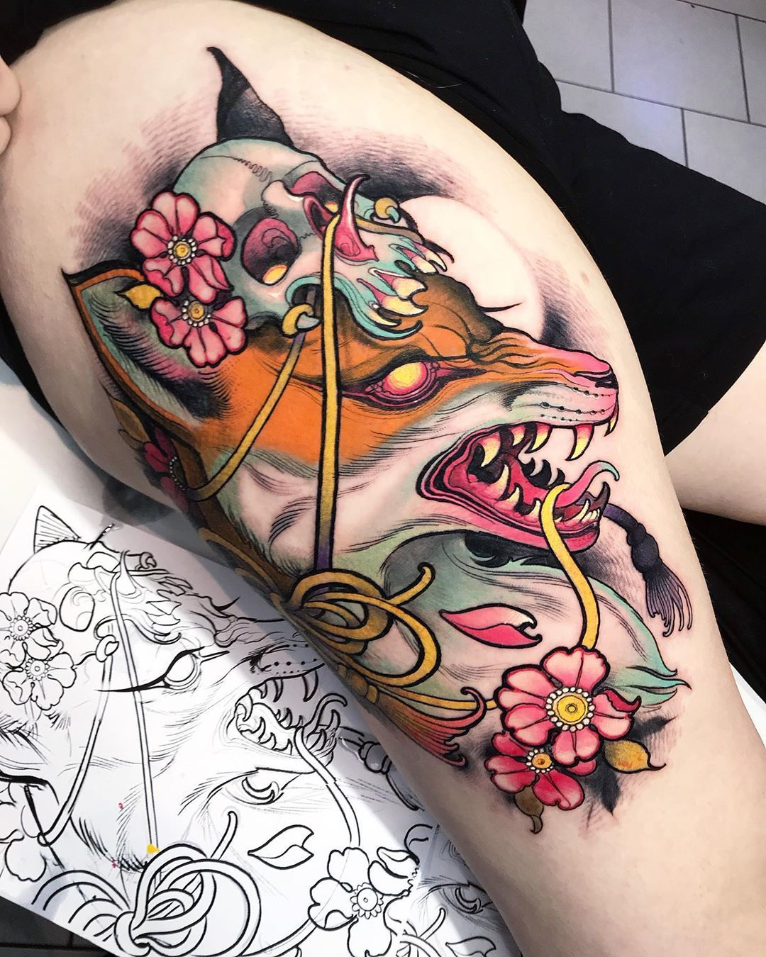 Tattoo Kitsune Foxtattoo Neo Traditional Tattoo Traditional Tattoo Best 3d Tattoos
