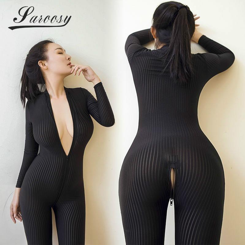 2c0041e3f7f New Sexy Lingerie for Women Open Crotch Black Striped Sheer Bodystocking  Bodysuit Smooth Fiber Double Zipper Long Sleeves   lingeriebodystockingforwomen