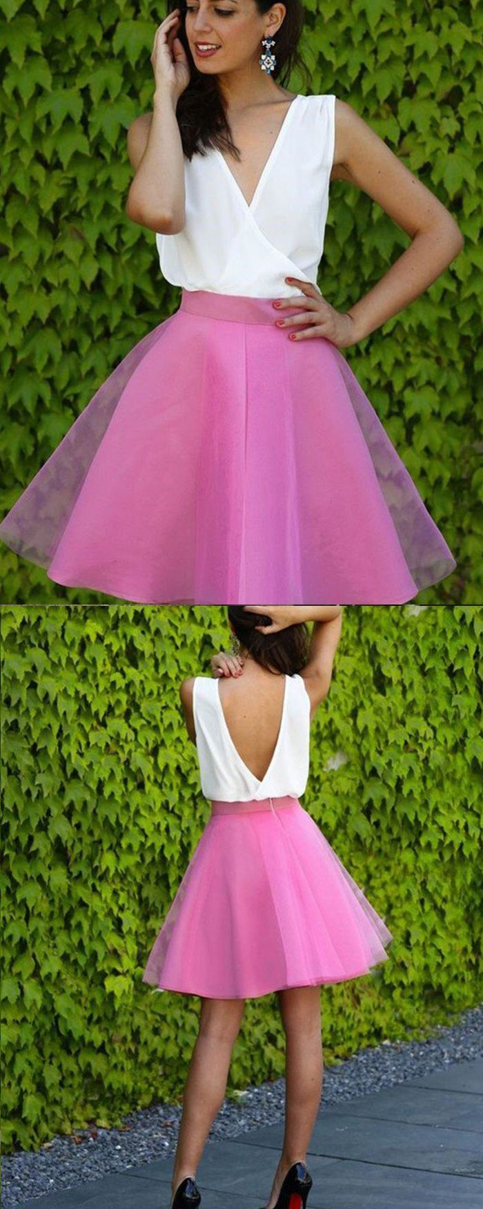 White and blush tulle vneck short party dress hd homecoming