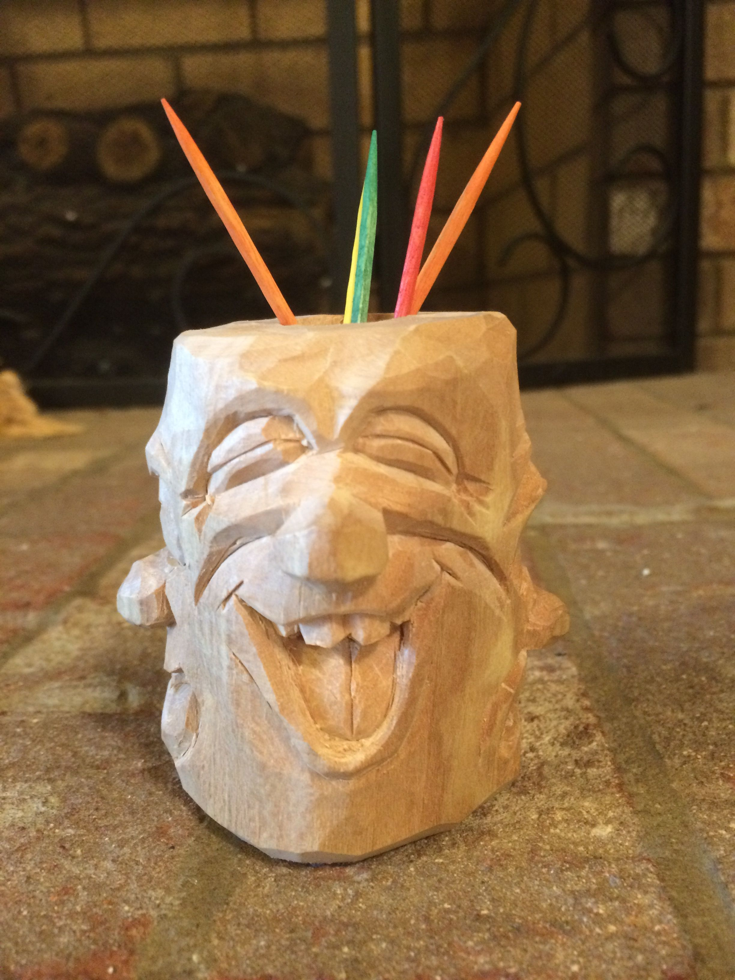 Tiki toothpick holder wood carvings pinterest wood carving
