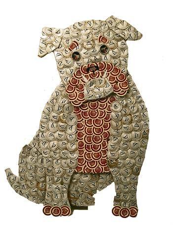 Bulldog Bottle Cap Art   Kronkorken, Tiere stricken und Korken