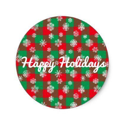 Snowflake Buffalo Plaid Christmas l Happy Holidays Classic Round Sticker