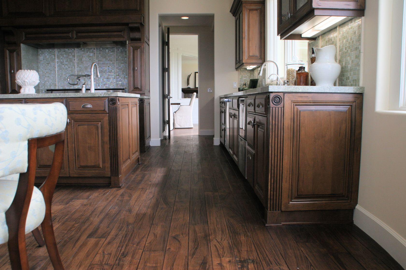 Distressed Alder Kitchen With Solid Walnut Floors, Black Glazed Cabinets,