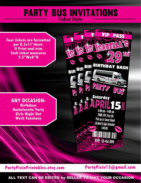 Party bus bachelorette birthday girls night out party invitations party bus bachelorette birthday girls night out party invitations ticket style personalized and printable digital files stopboris Image collections