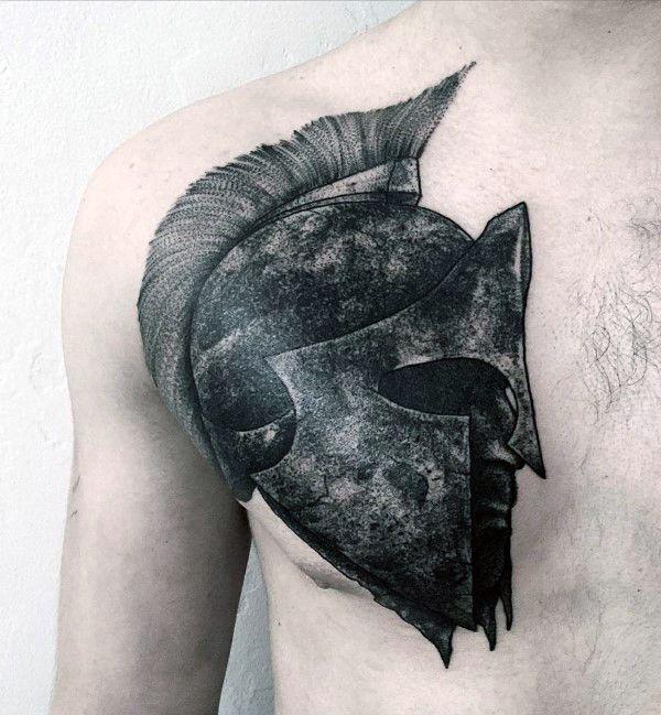 Mens Badass Military Tattoos Warrior Roman Helmet On Chest ...